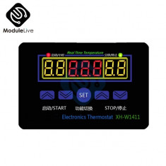 Controler temperatura+senzor+ termostat, alimentare 220V, nou xh w1411