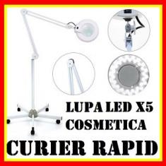 Lupa Cosmetica Lampa Cu Roti Profesionala Lumina Rece Neon Circular Marire x5