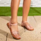 Sandale dama cu talapa joasa roz Norisa