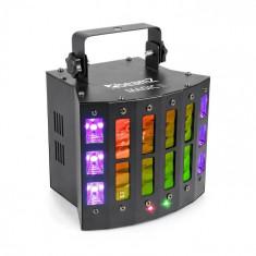 Beamz Magic 2, derby, R/G laser, stroboscop/UV efect de lumină, 9 canale DMX, negru