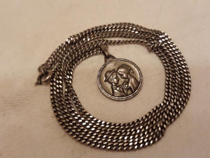 MEDALION argint TINERI INDRAGOSTITI exceptional VECHI rar DE EFECT + Lant ARGINT