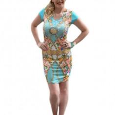 Rochie tinereasca turcoaz cu design oriental decorat cu strasuri