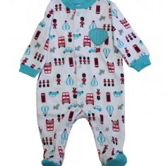Salopeta / Pijama bebe cu desene Z69, 1-2 ani, 1-3 luni, 12-18 luni, 3-6 luni, 9-12 luni, Alb