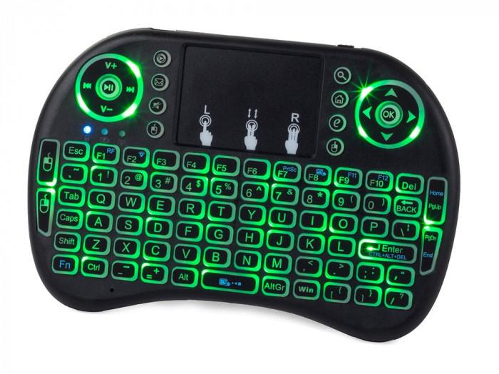 Mini Tastatura Wireless QWERTY Iluminata, cu Touchpad, pentru PC, TV, PlayStation sau Smartphone, baterie 1020mAh, raza 10m