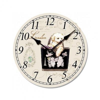 Ceas de perete din lemn, ClassGifts London Dog, cifre arabe, 33 cm,Cod Produs:2451 foto