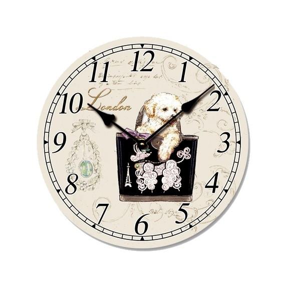 Ceas de perete din lemn, ClassGifts London Dog, cifre arabe, 33 cm,Cod Produs:2451