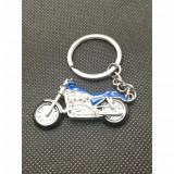Breloc chei motocicleta metalica color albastru chopper bobber accesorii cadou