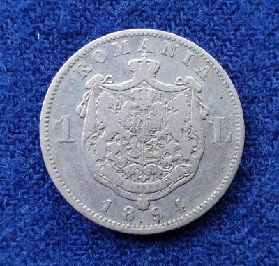 Moneda din argint  1 Leu 1894  Regele Carol Romania foto