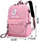 Ghiozdan rucsac Smart Tik Tok multifunctional cu lant OX19 roz, 2 barete ajustabile, capacitate 40 L, 45 cm