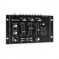 Auna TMX-2211, MKII, DJ-Mixer, 3/2 canale, crossfader, talkover, montare pe raft, negru