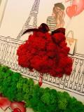 Tablou cu licheni – Love in Paris, Licheni stabilizati, rosu, 40×30 cm