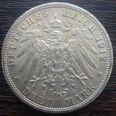 (A744) MONEDA DIN ARGINT GERMANIA, PRUSIA - 3 MARK 1912, LIT. A, WILHELM II