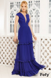 Rochie de seara Fofy albastra cu volane