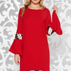 Rochie StarShinerS rosie eleganta cu croi larg din stofa usor elastica cu insertii de broderie