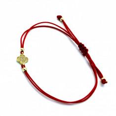 Bratara cu snur rosu, pandantiv aur 14K, reglabila, 179753