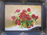 Tablou / Pictura ghiveci cu flori semnat Cimpoesu