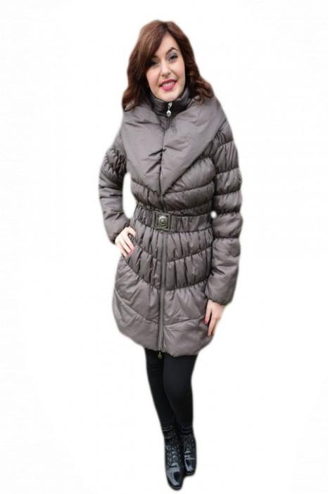Jacheta casual, de culoare maro deschis din fis