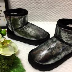 Cizme metalice negre gri argintii imblanite de iarna fete fetite 30 31