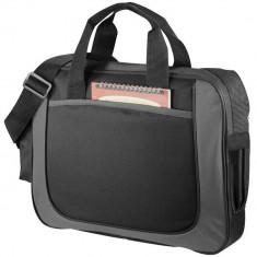 Servieta business cu buzunar frontal deschis, Everestus, DN, 600D poliester, negru, gri, saculet si eticheta bagaj incluse