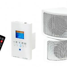 Set Radio MP3 Player cu Amplificator Audio Blow pentru Doza Perete cu 2 Difuzoare si Telecomanda, Putere 2x15W, USB, Card SD