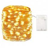 Ghirlanda Luminoasa Decorativa din Cupru 10 m. cu 100 LEDuri cu baterii