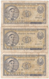 ROMANIA 3 X 5 LEI 1952 SERIE CONSECUTIVA r51, r52, r53 UZATE