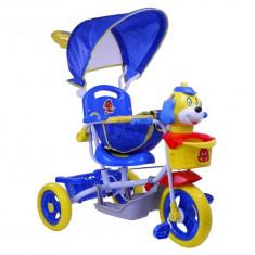 Tricicleta pentru copii cu catelus, albastru cu galben