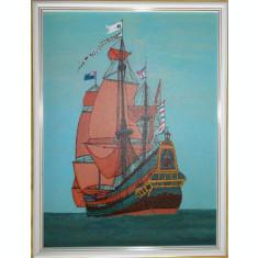 """Tablou """"Corabie pe mare """" 42x32 cm, in culori acrilice, rama lemn"""