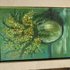 Tablou,pictura germana in ulei,reprezentan flori