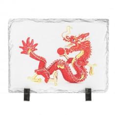 Placa (placheta) cu Dragon Rosu cu bila de foc, impotriva conflictelor