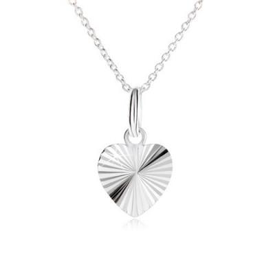 Inimă simetrică cu crestături în formă de raze pe lanț - colier argint 925 foto