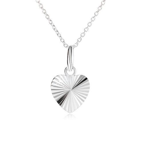 Inimă simetrică cu crestături în formă de raze pe lanț - colier argint 925