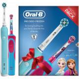 Cumpara ieftin Set Periuta de dinti electrica Oral-B Pro 500 & Periuta de dinti electrica Oral-B Vitality Frozen pentru copii