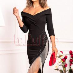 Rochie eleganta neagra cu franjuri din margele