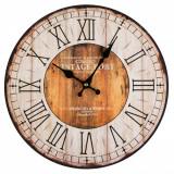 Ceas de perete, model vintage port, 33,8 cm, alb/maro