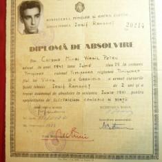 Diploma de Absolvire a Scolii Tehnice I.Ranghet Timisoara 1961