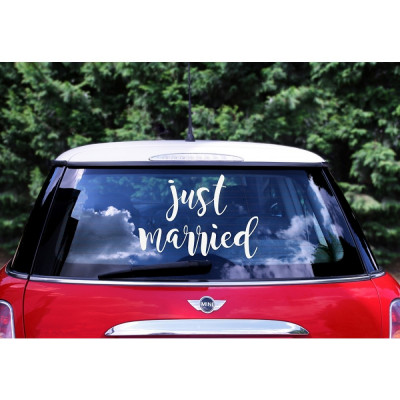 Sticker masina mirilor - ''Just Married'' foto