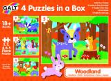 Set 4 puzzle-uri - Animalute din padure (2, 3, 4, 5 piese) PlayLearn Toys, Galt