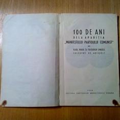 100 de Ani dela Aparitia MANIFESTULUI PARTIDULUI COMUNIST - K. Marx, Fr. Engels