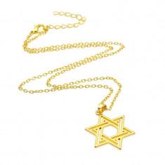 Pandantiv tema religioasa Steaua lui David simbol evreu gold
