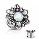 Plug de urechi din oțel - floare decorată cu patină neagră, patru opale sintetice - Diametru piercing: 14 mm