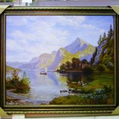 Tablou pictat manual pe panza in ulei A-127, Natura, Realism