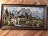 Tablou,goblen german,reprezentand cabana in munti