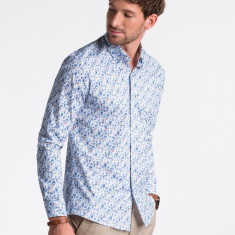 Camasa premium, casual, barbati - K491-alb-albastru