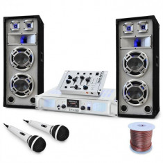 "Electronic-Star DJ PA Set de boxe, amplificator, mixer ""Polar Bear"" 2200W"