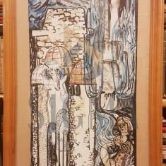 """TABLOU, MARIANA MICU, ILUSTRATIE LA LEGENDA """" MESTERUL MANOLE"""" , ACUARELA, 1977"""