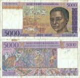 1995 ( 8 V ) , 5,000 francs ( P-78b ) - Madagascar