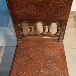 Set 4 scaune piele reconditionate, sec XIX, superbe