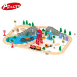 Set trenulet din lemn Port Cargo Express  Rail Train - 80 piese AcoolToy, Unisex