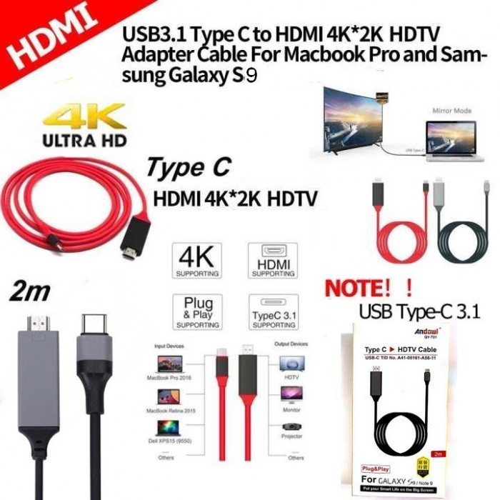 USB 3.1 Type C 2m HDMI 4k x 2k HDTV Cablu adaptor Galaxy S9 S9 Plus USB-C